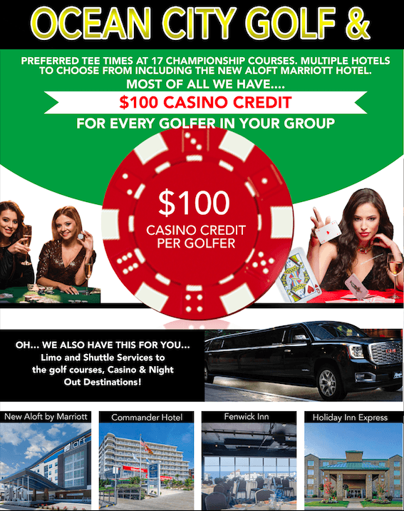 $100 casino credit per golfer ocean city md